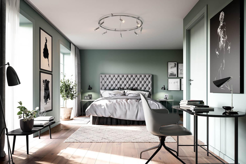 Sovrum i Steninge Townhouse ritat av arkitekterna på Rex till det nya bostadsområdet Steninge Slottsby.