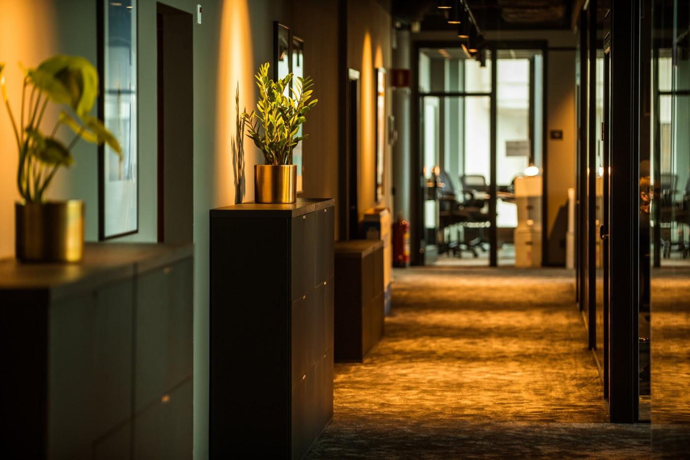 Korridor i Convendums nya co-working space i Slussen, av Rex Arkitektbyrå.