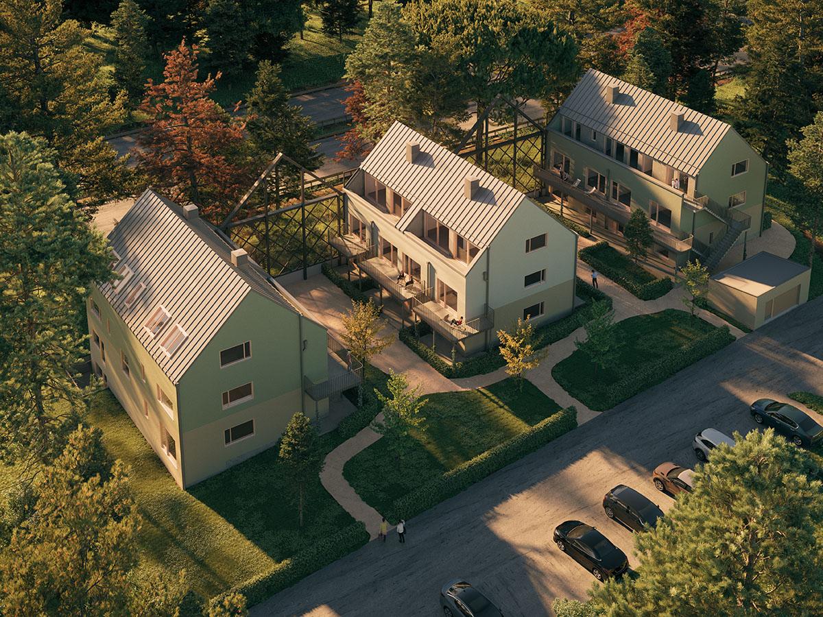 Platsbyggda flerbostadshus färdigställdes under 2019 på en tomt i Nacka. Ritade av arkitekterna på Rex Arkitektbyrå.
