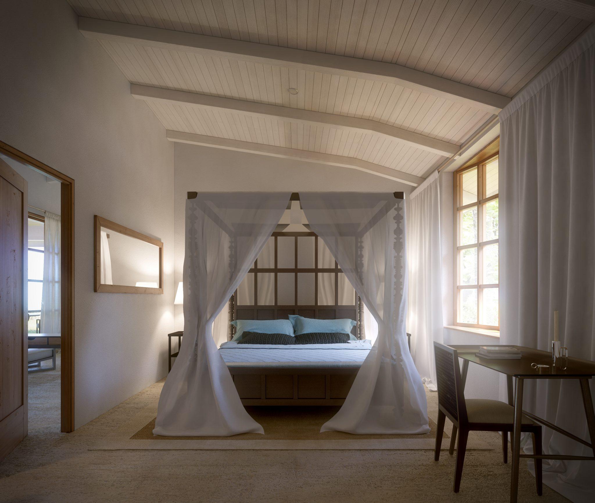Sovrum i en av strandvillorna i Karibien, av Rex Arkitektbyrå