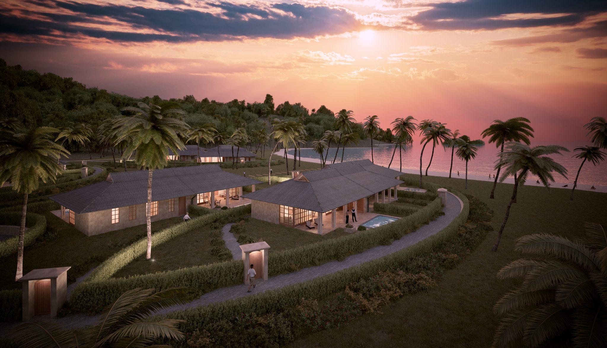 Fin solnedgång över standvillorna i Karibien, ritade av Rex Arkitektbyrå