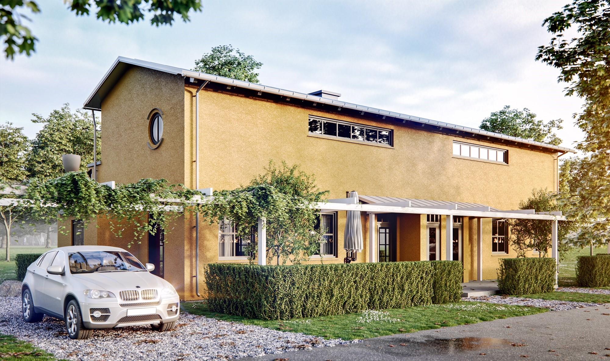 Idéprojekt Marielund Orangeribostäder ritat av Rex Arkitektbyrå