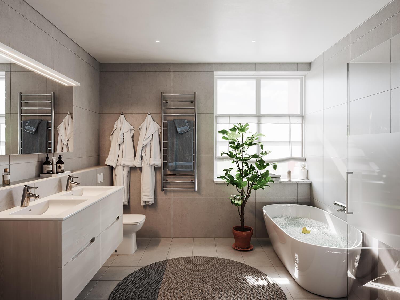 Ljust badrum tillhörande parhusen i Steninge slottsby, av Rex Arkitebyrå