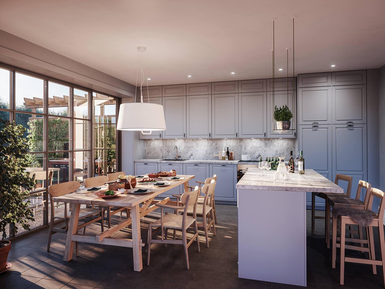 Inbjudande kök i parhusen i Stenine Slottsby, ritade av Rex Arkitektbyrå