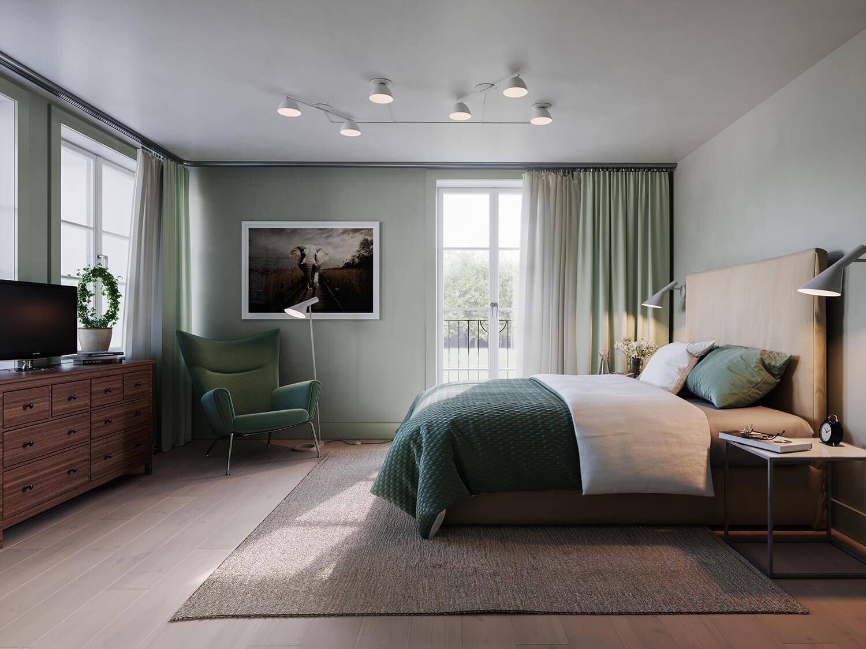 Grönt och ljust sovrum tillhörande parhusen i Steninge slottsby, av Rex Arkitebyrå