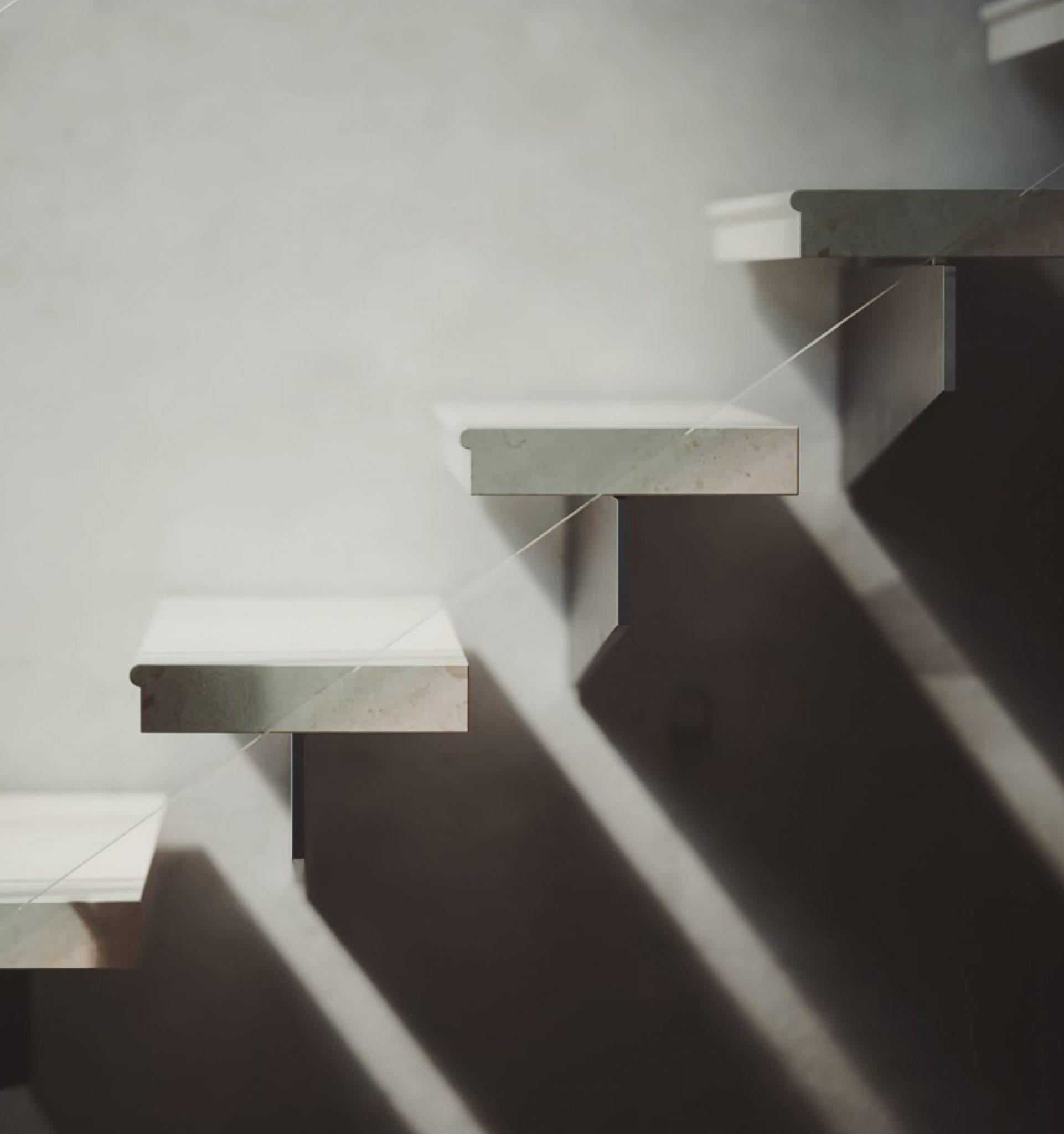 Trappa till projektet Böjda betongvillan, ritat av Rex Arkitektbyrå i Stockholm.