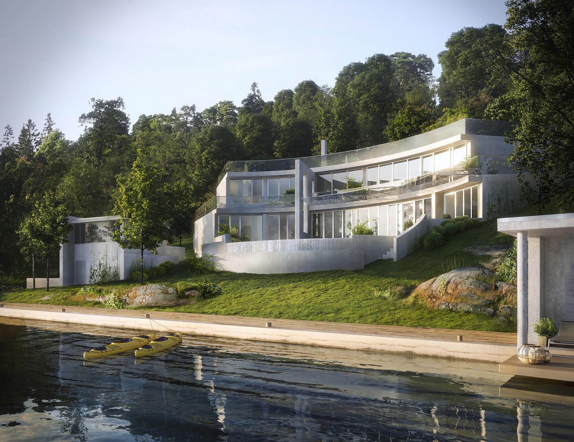 Ny villa med böjd form i betong, beläget vid vattnet. Ritat av Rex Arkitektbyrå i Stockholm.