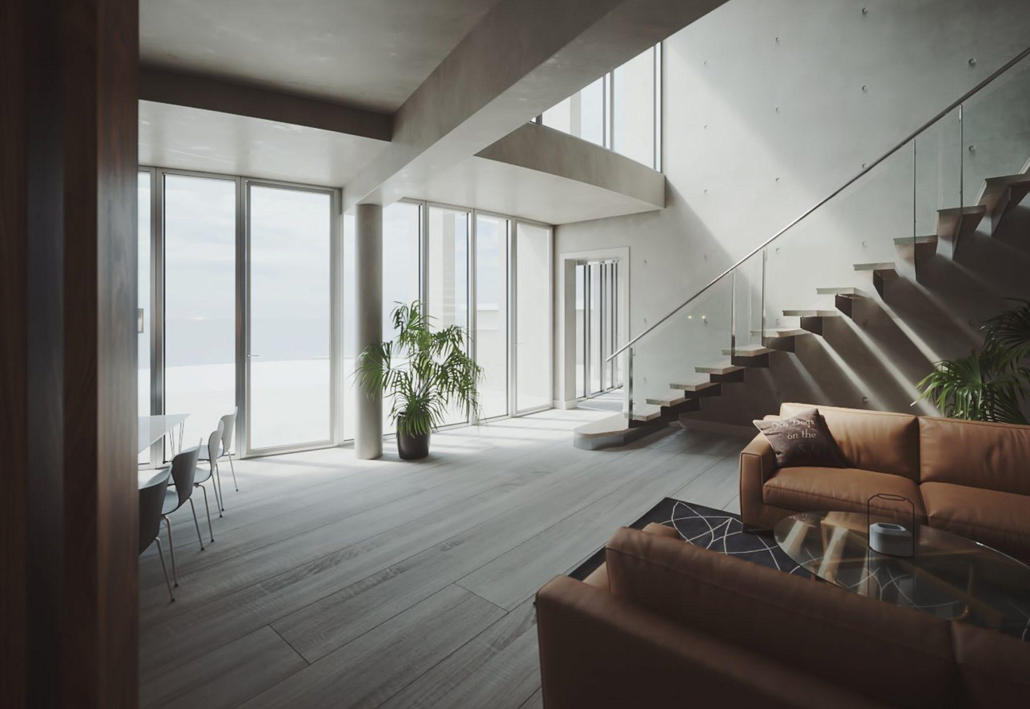 Ny villa med böjd form i betong, ritat av Rex Arkitektbyrå i Stockholm.