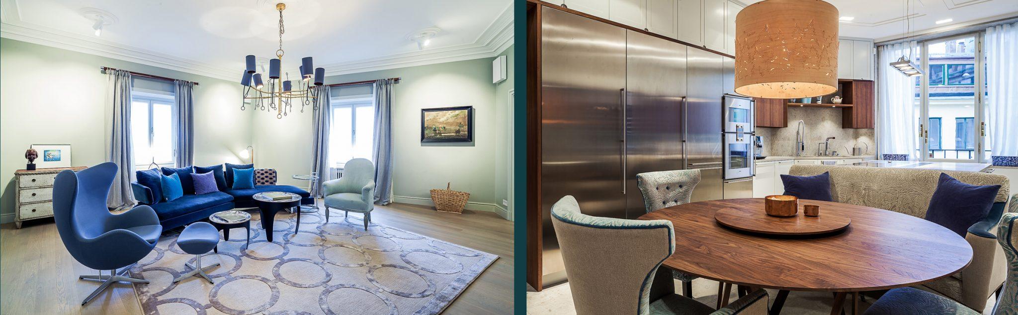 Vardagsrum och kök i renoverad lägenhet av Rex Arkitektbyrå