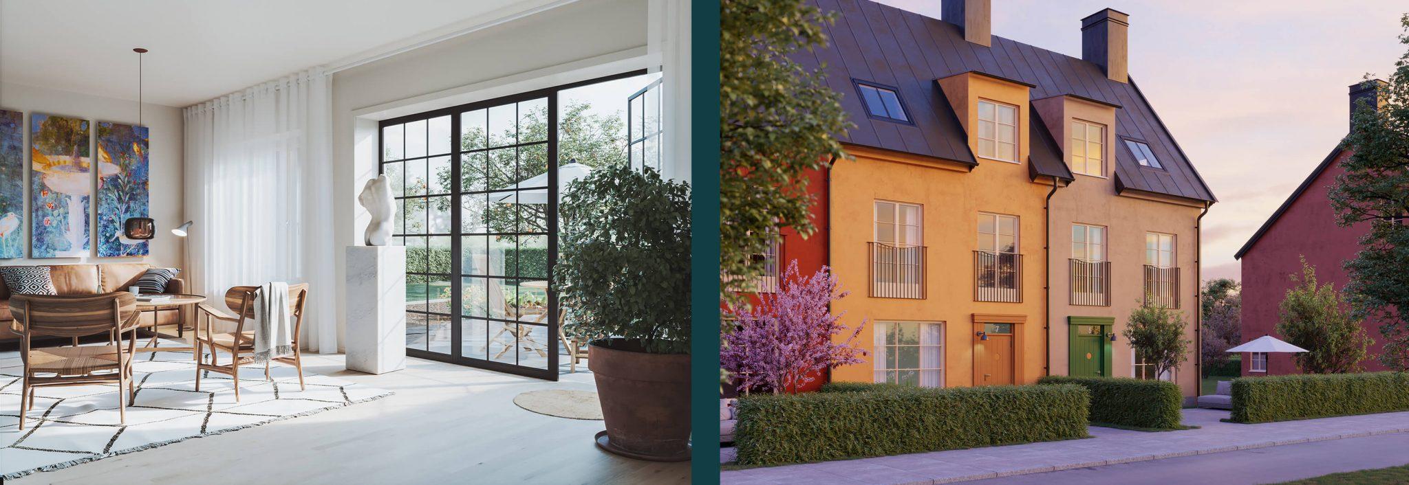 Steninge Townhouse ritat av arkitekterna på Rex till det nya bostadsområdet Steninge Slottsby.
