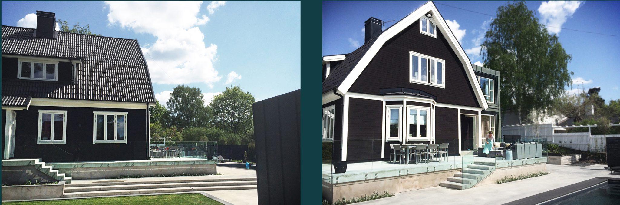 Exteriöra bilder på villa Tegelhem där arkitekterna på Rex anlitades för en omfattande om- och tillbyggnad
