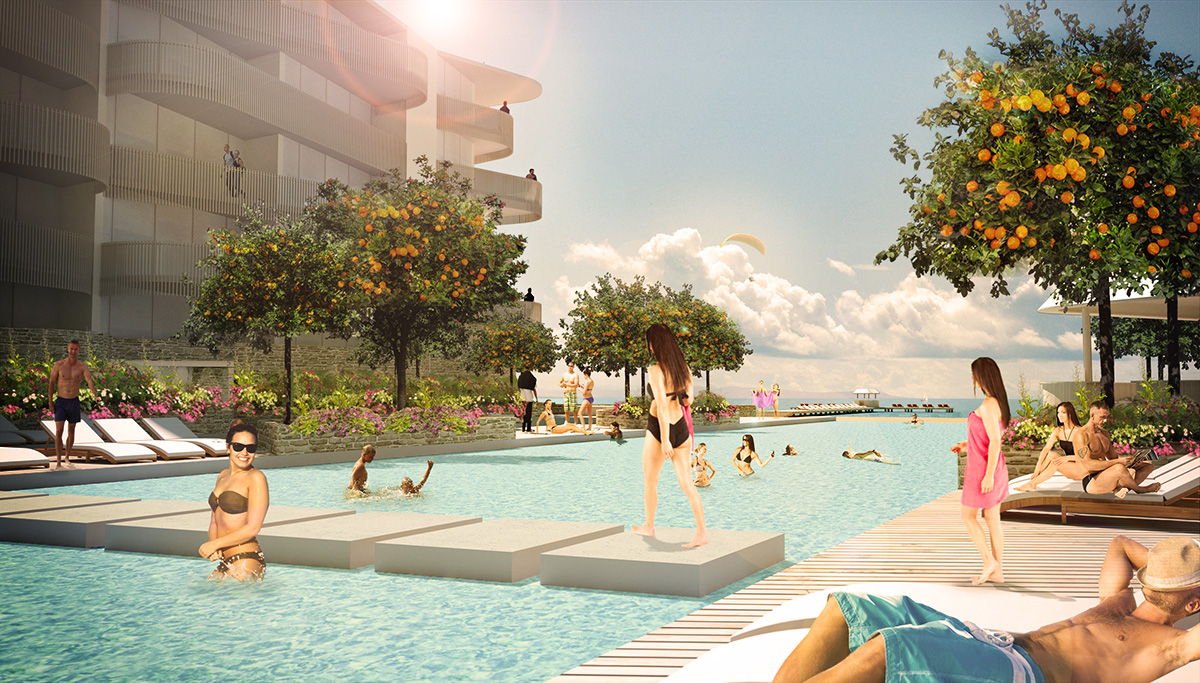 Poolområde i Orange Sea View Estates. Idéprojekt  av ett nytt hotell-resort på Cypern av Rex Arkitektbyrå.
