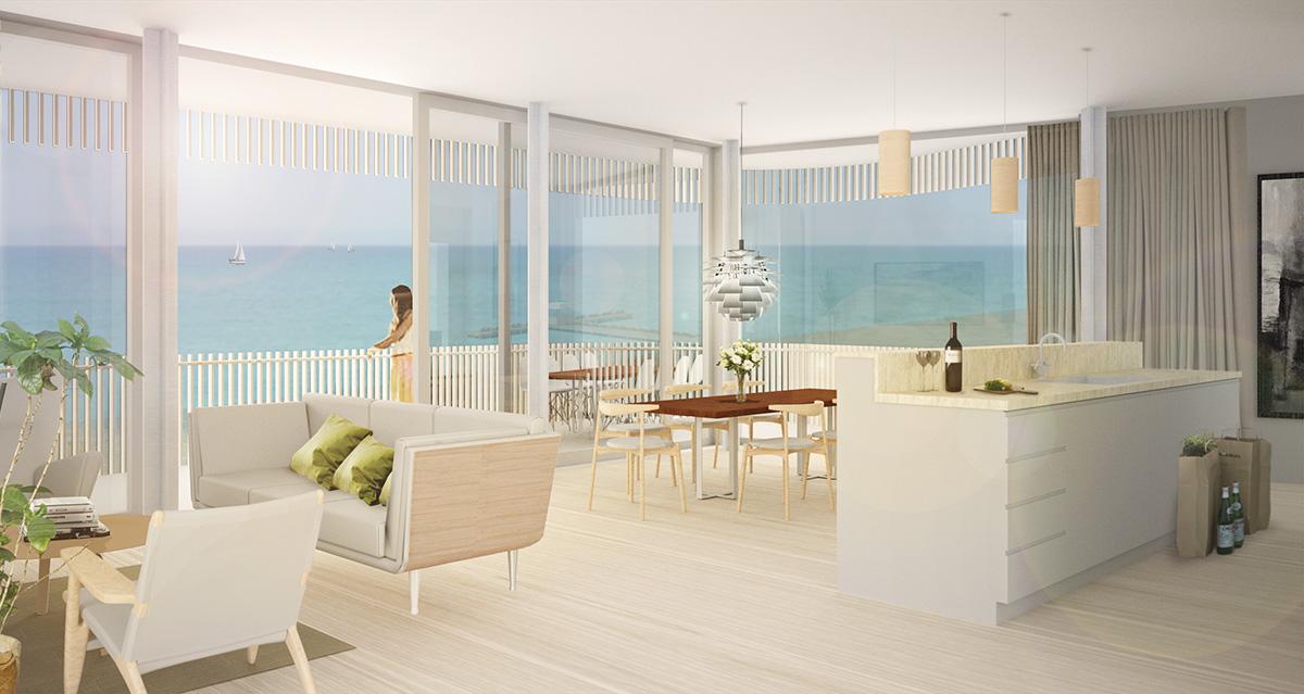 Lägenhet i Orange Sea View Estates. Idéprojekt av ett nytthotell-resort på Cypern av Rex Arkitektbyrå.