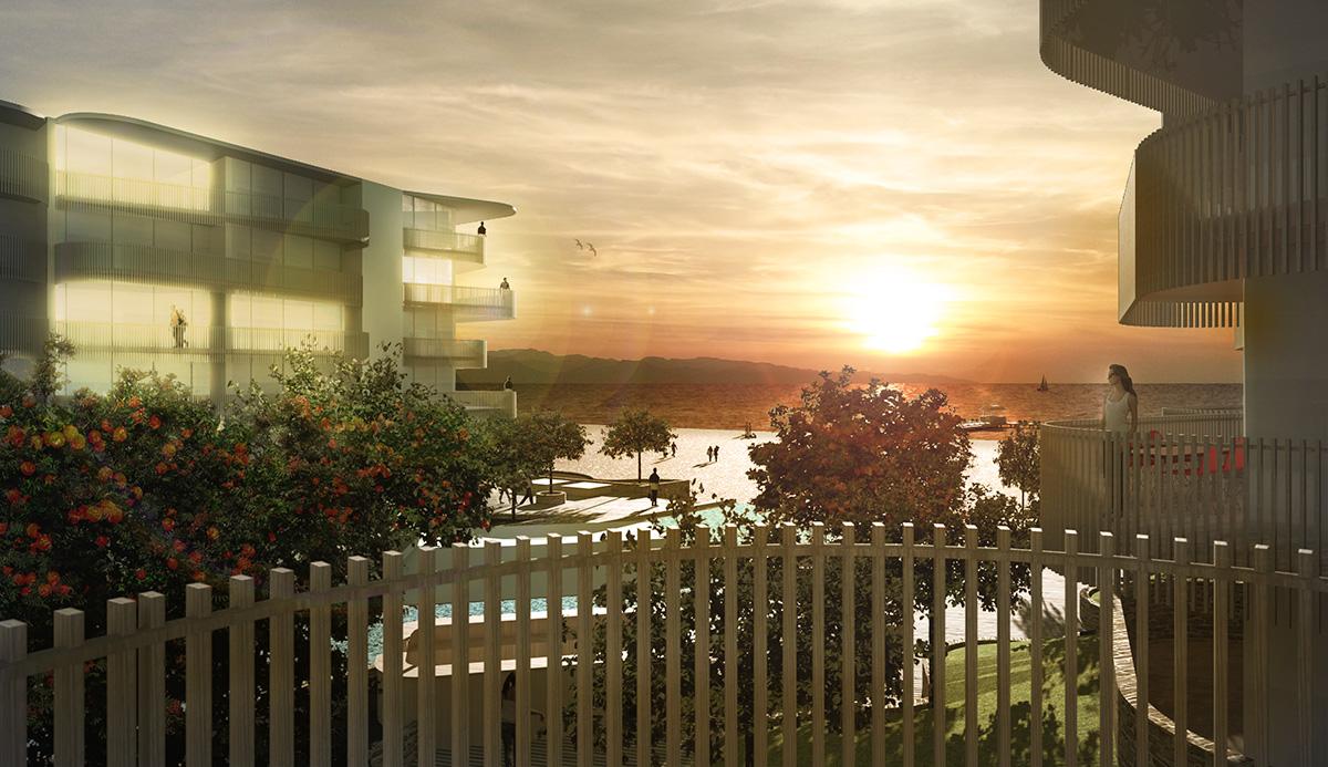 Solnedgång över Orange Sea View Estates. Idéprojekt av ett nytthotell-resort på Cypern av Rex Arkitektbyrå.