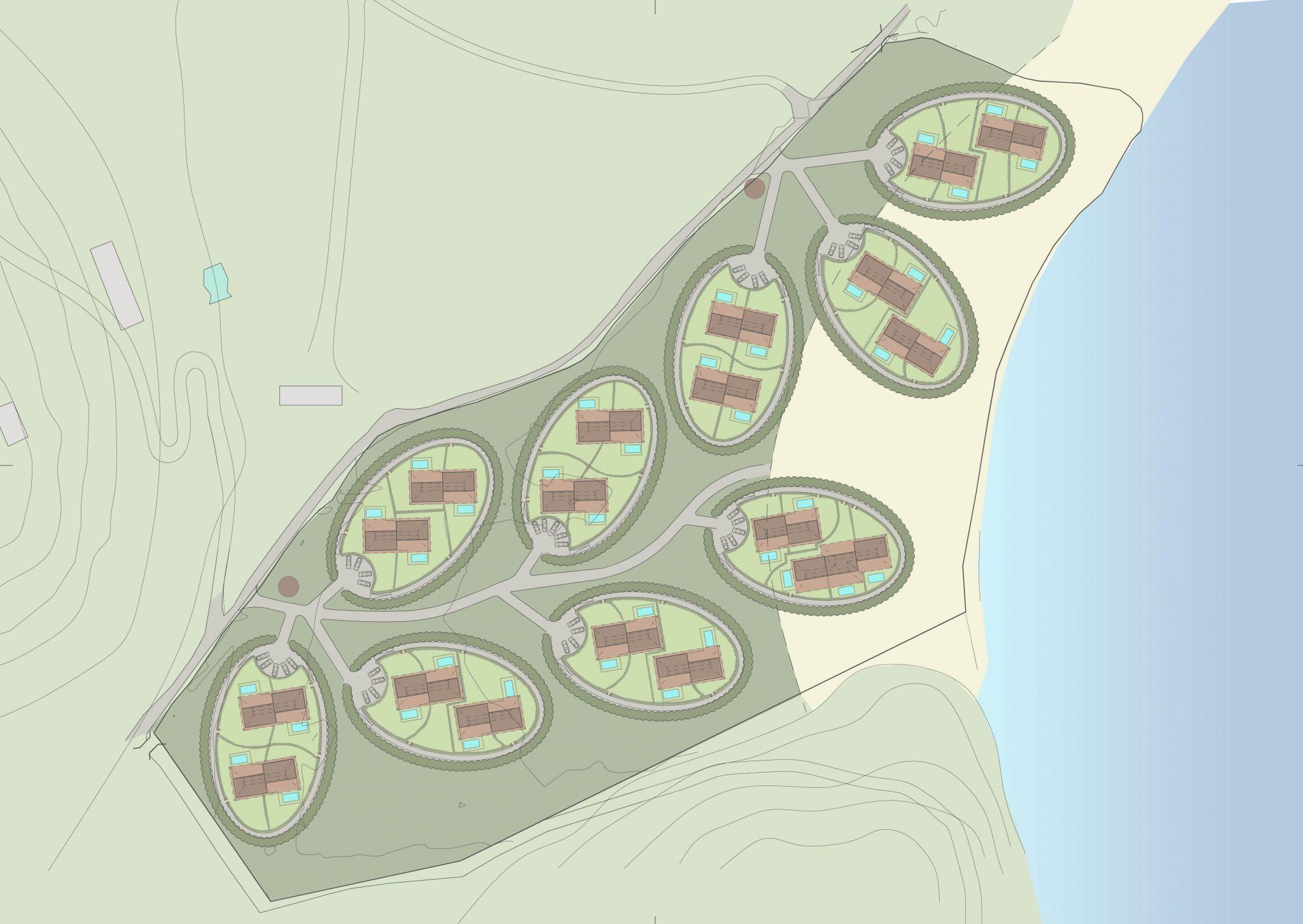 Strandvillor i Karibien, översiktsplan. Av Rex Arkitektbyrå