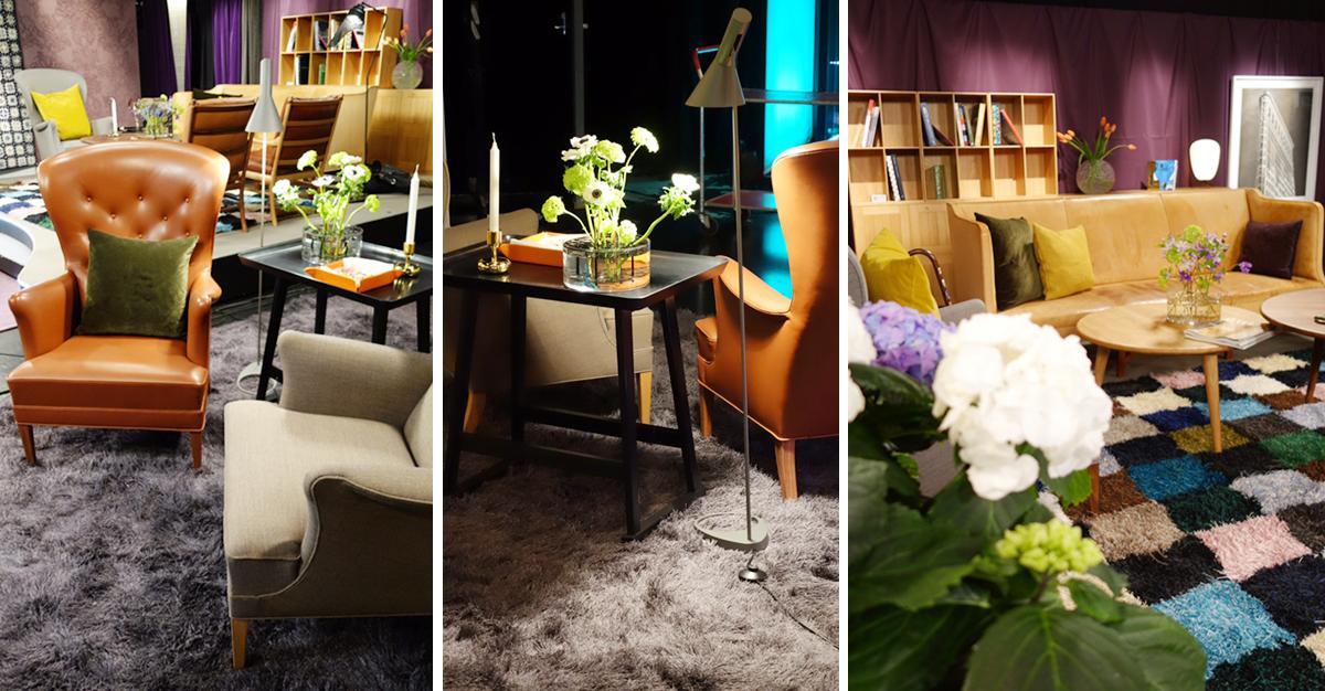Studion inreddes med mycket tyg, blommor och en kombination av nya och gamla möbler. Designad av Rex arkitektbyrå.