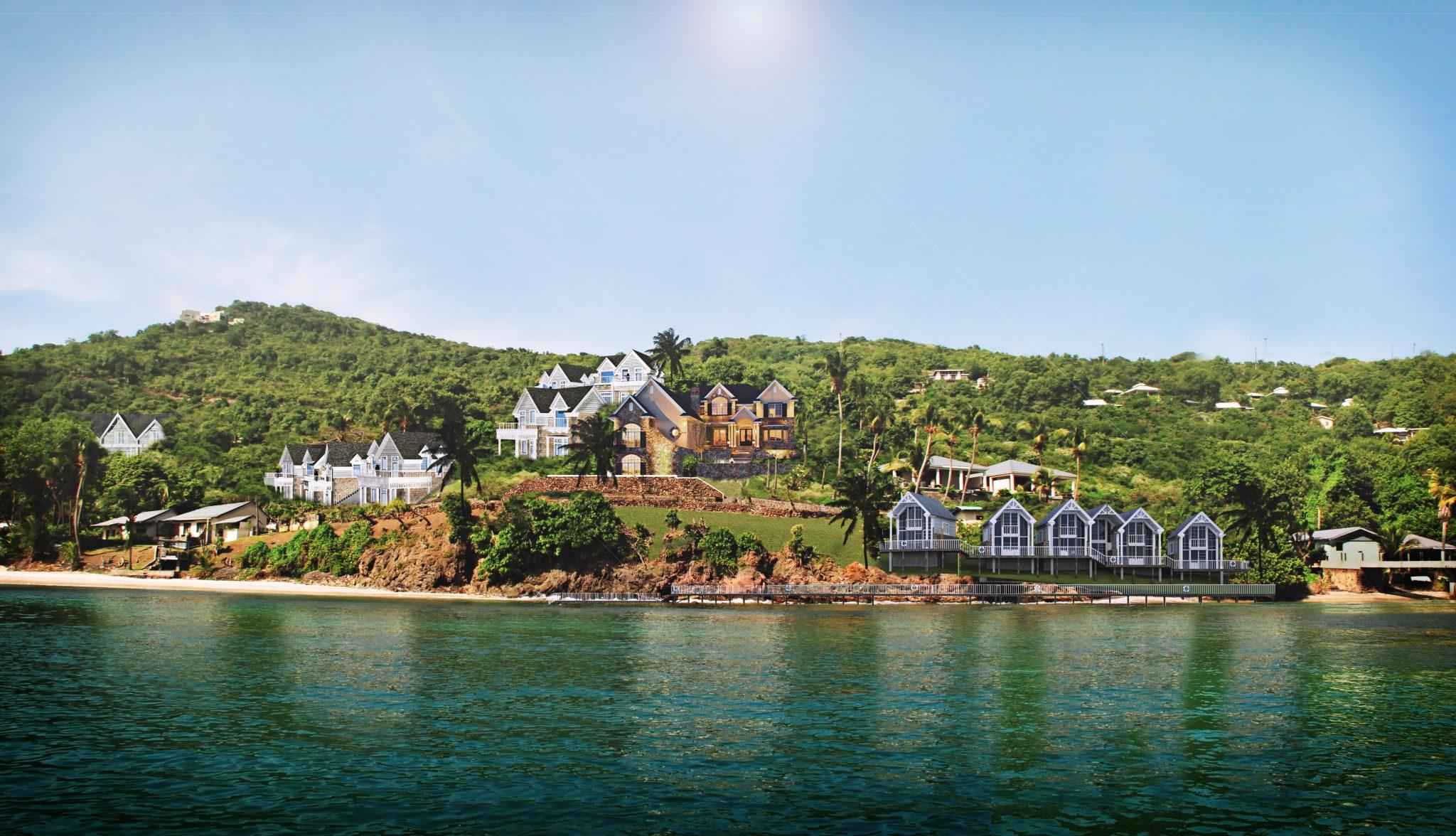 Nytt hotellområde på ön Bequia i Västindien, framtaget av Rex Arkitektbyrå tillsammans med landskapsarkitekt från USA. Vy från vattnet