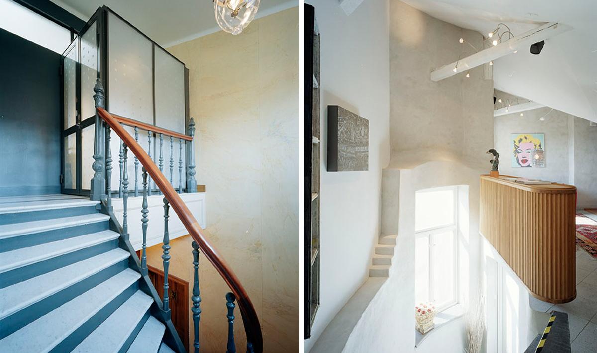 Två entréer varav en med hiss upp i våningen i den gamla råvinden som omvandlades till ett hem av Rex Arkitektbyrå