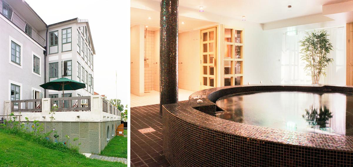 Frukostterrass och pool i Hotell Sands, nytt hotell i Sandhamn av Rex Arkitektbyrå och Anders Berg.