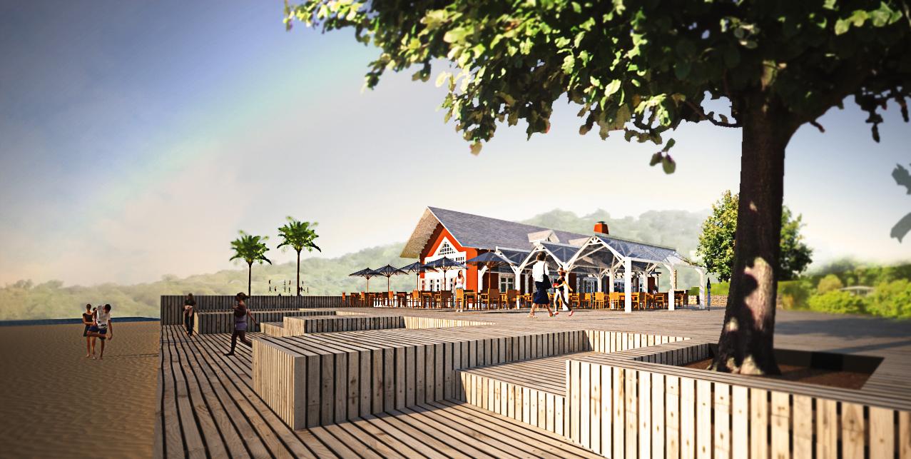 Vy mot restaurang. Nytt hotellområde på ön Bequia i Västindien, framtaget av Rex Arkitektbyrå tillsammans med landskapsarkitekt från USA.