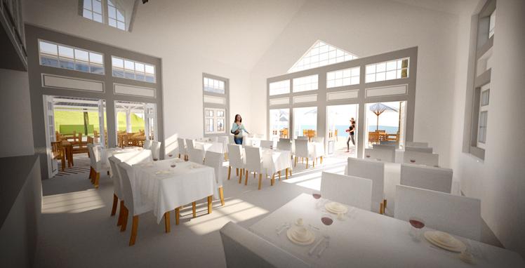 Restaurang. Nytt hotellområde på ön Bequia i Västindien, framtaget av Rex Arkitektbyrå tillsammans med landskapsarkitekt från USA.