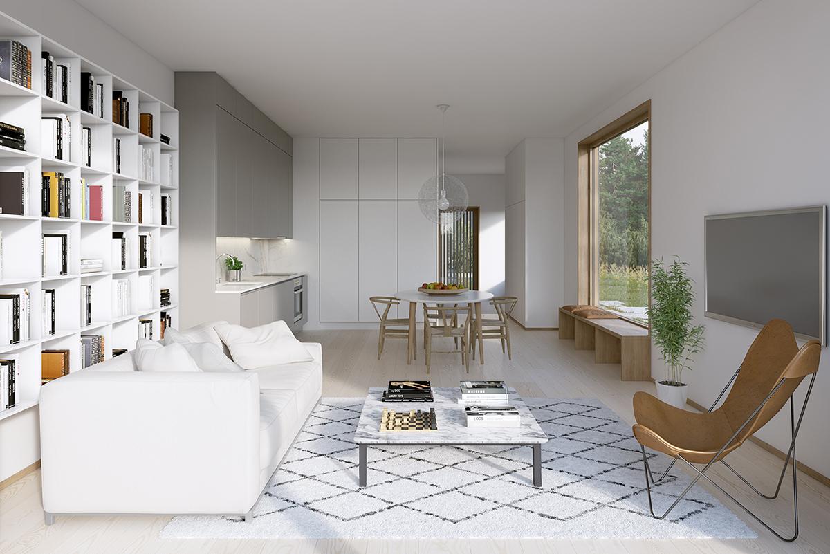 Vardagsrum i nytt parhusområde i Stockholm av Rex Arkitektbyrå