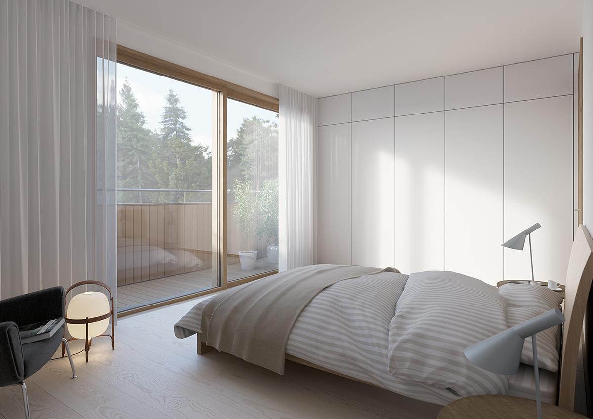 Sovrum i nytt parhusområde i Stockholm av Rex Arkitektbyrå