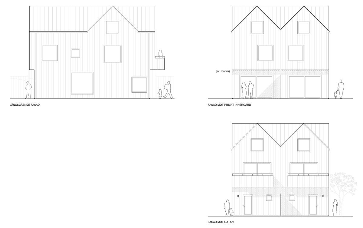 Fasadritning över nytt parhusområde i Stockholm av Rex Arkitektbyrå