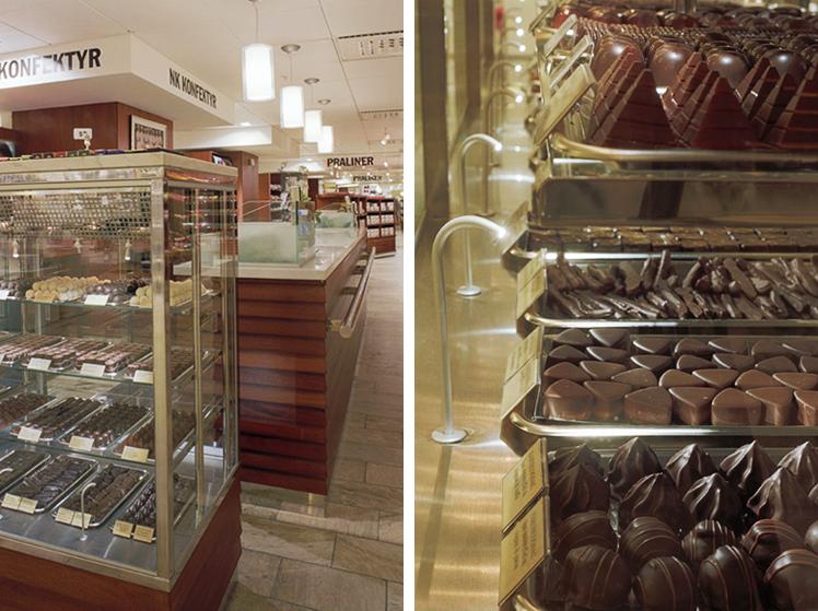 Närbilder på fiberoptikbelysningen av chokladpralinerna. NK:s nya konfektyravdelning av Rex Arkitektbyrå.
