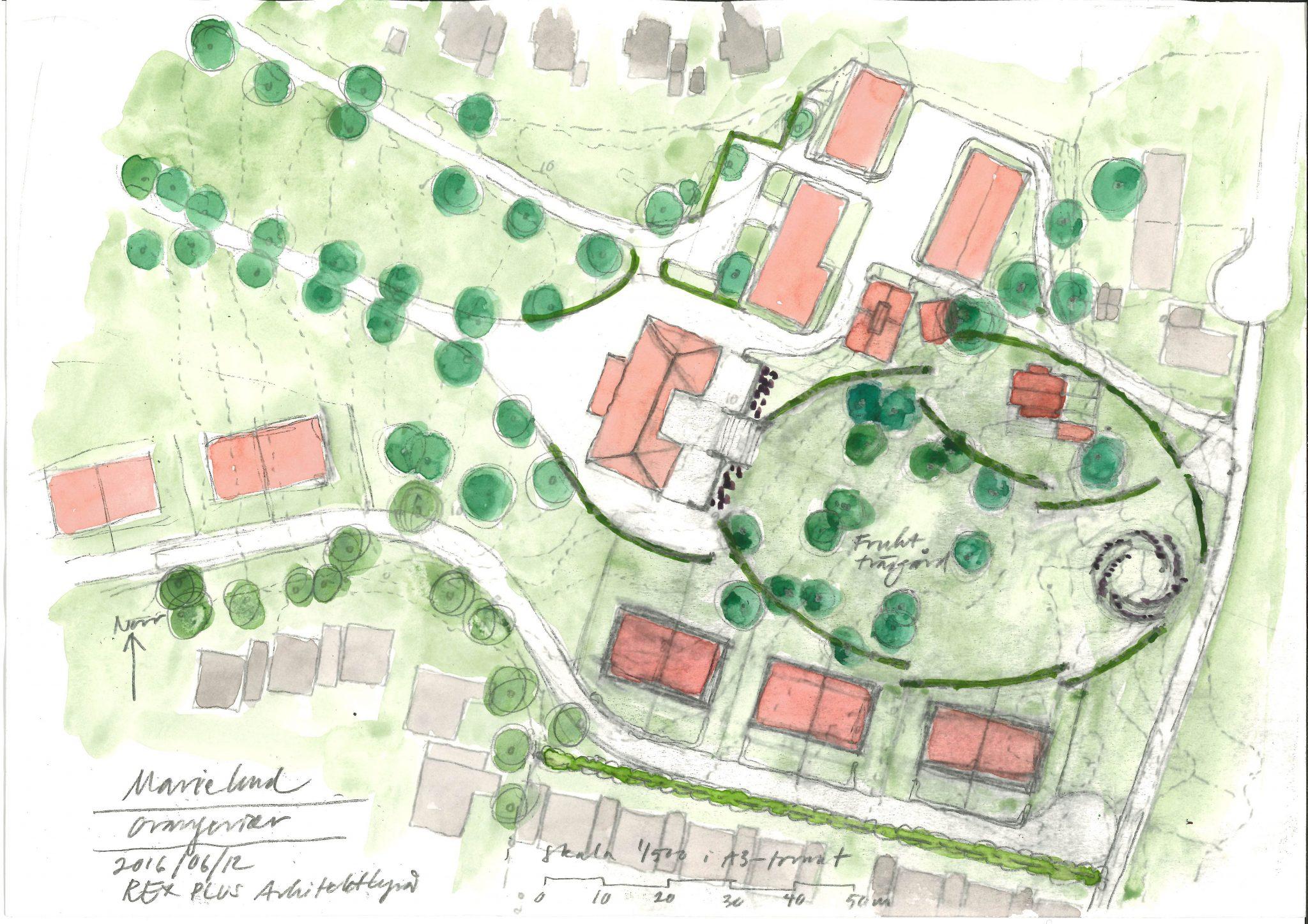 Situationsplan över nya bostäder runt Marielunds herrgård, av Rex Arkitektbyrå
