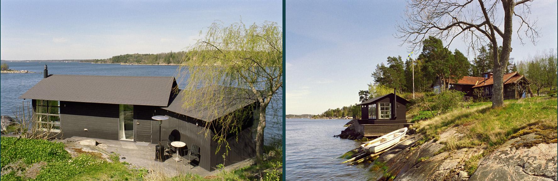Sjöbodbelägen precis i vattenbrynet, ritat av Rex arkitektbyrå