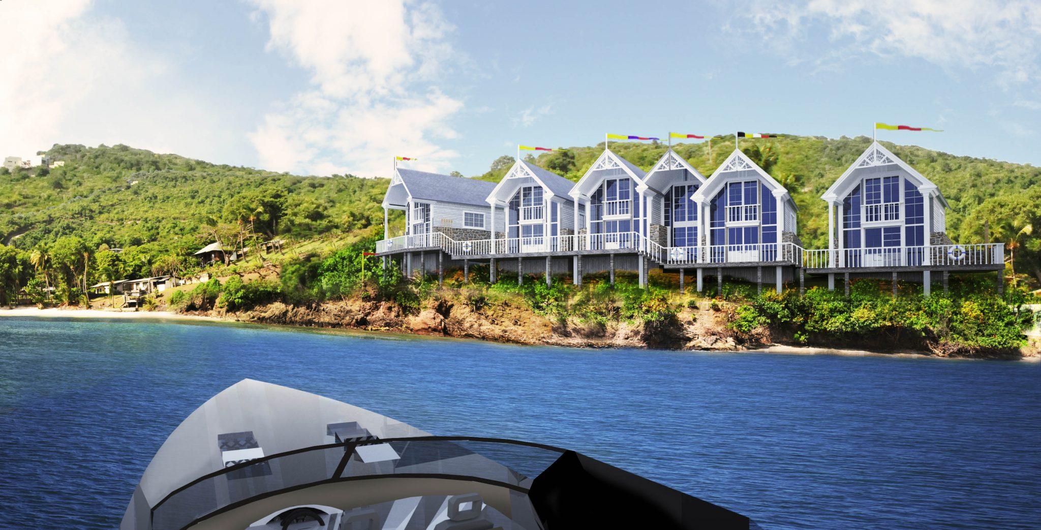 Vy från vattnet. Nytt hotellområde på ön Bequia i Västindien, framtaget av Rex Arkitektbyrå tillsammans med landskapsarkitekt från USA.