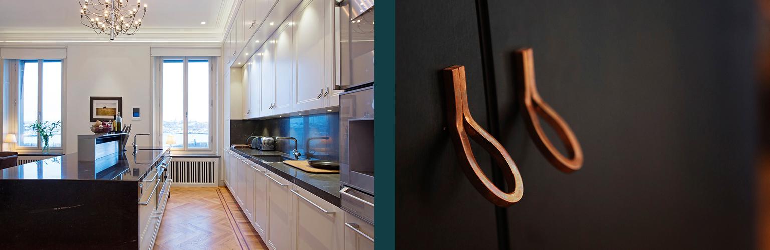 Nya beslag specialritade för projektet Lägenhet Vinblad av Rex Arkitektbyrå