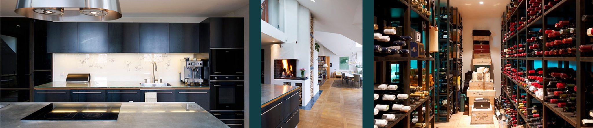 Vindsvåning i Stockholm av Rex Arkitektbyrå. Vardagsrum med kakelugn samt kök.