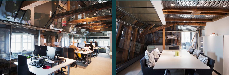 Kontor Apollo. En råvind i en 1600-talsbyggnad omvandlades till kontor