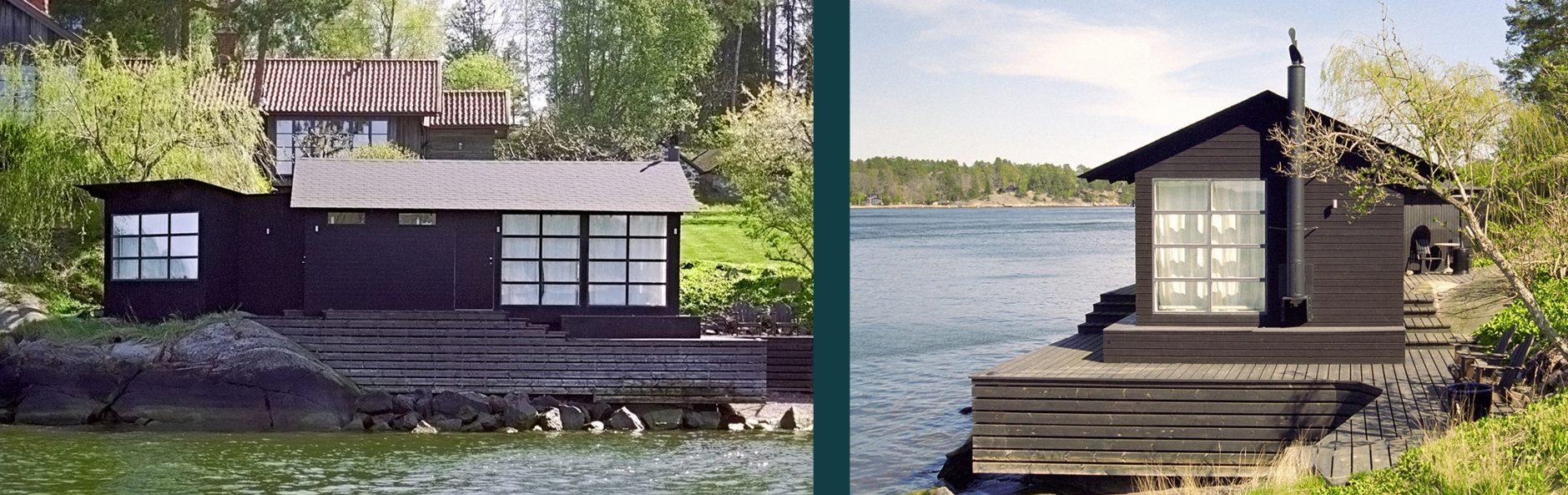 Läcker sjöbodi svart trä somritades av Rex arkitektbyrå åt en privatperson.