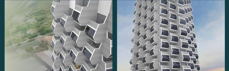 Skissprojekt inför detaljplan av en hög byggnad i Linköping, ritat av Rex Arkitektbyrå
