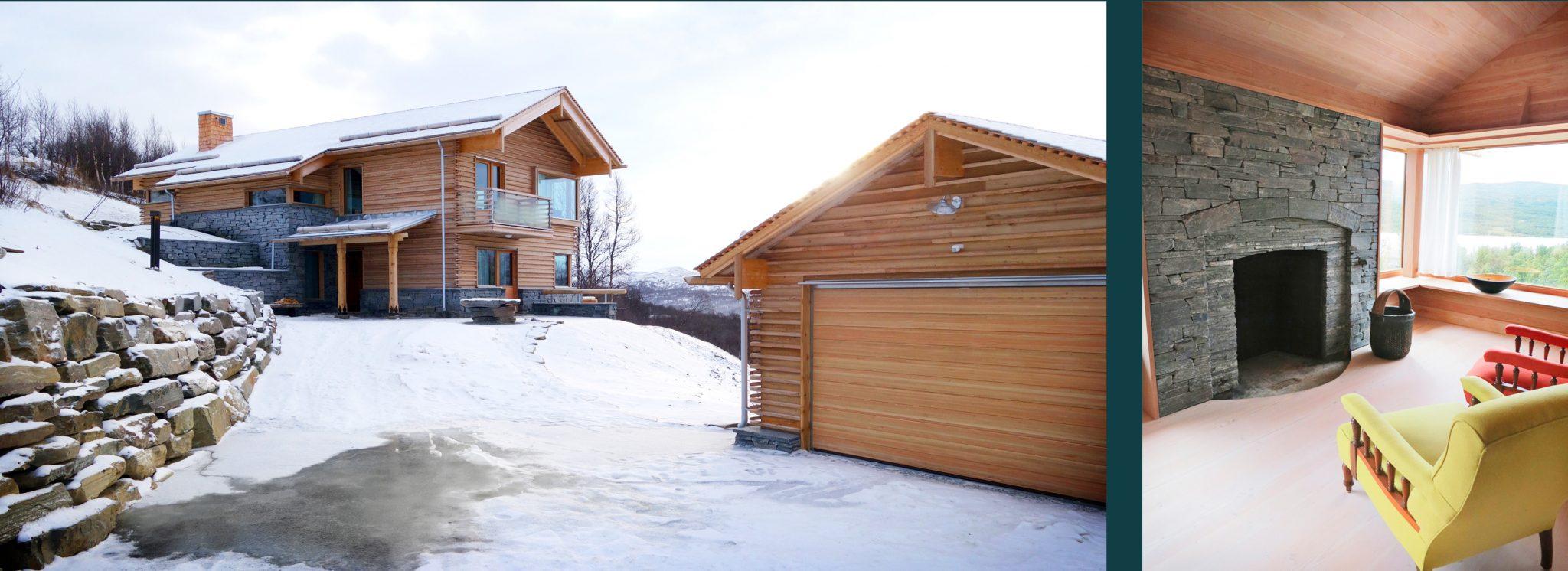 Nybyggnation av fjällvilla av Rex Arkitektbyrå. Vy från infarten och i vardagsrummet
