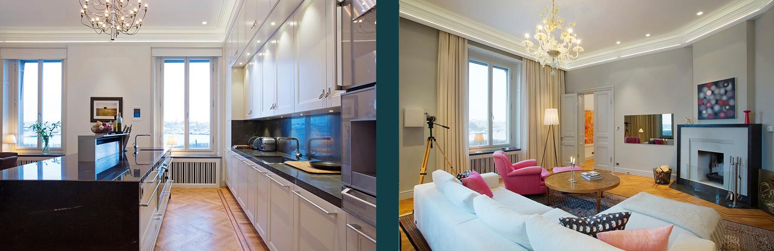 Kök och vardagsrum i en sekelskiftesvåning i Stockholm där Rex anlitades inför en omfattande renovering