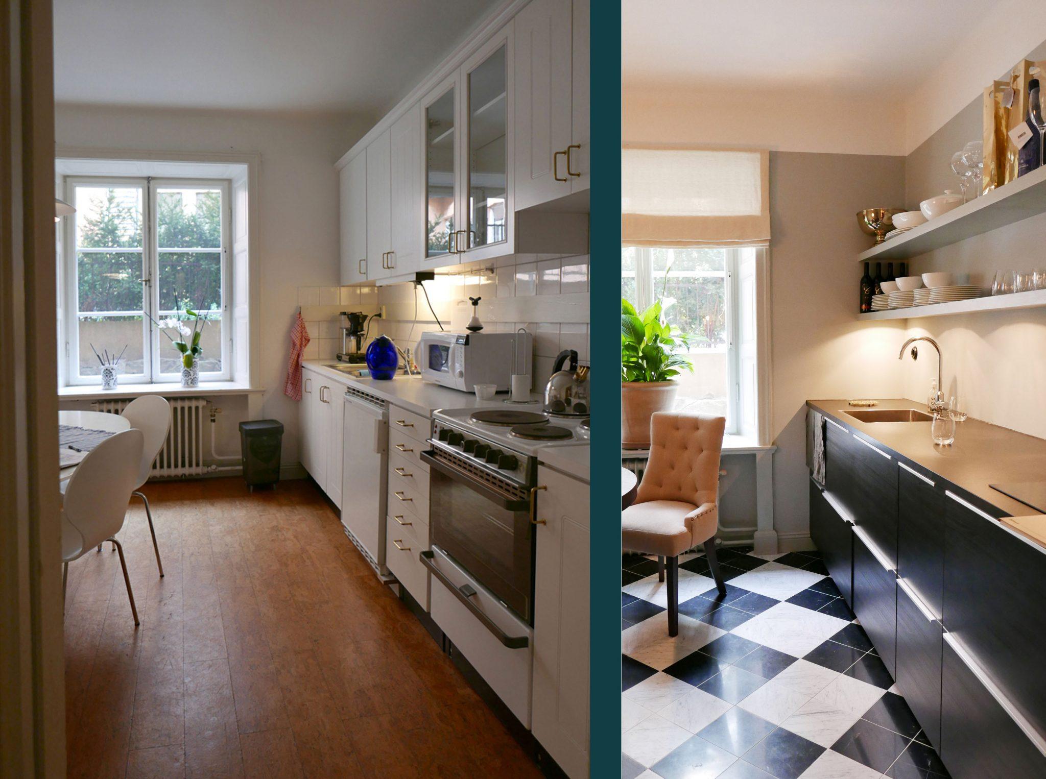 Före och efterbild på köket i Studio Hagman, ritat av Rex Arkitektbyrå