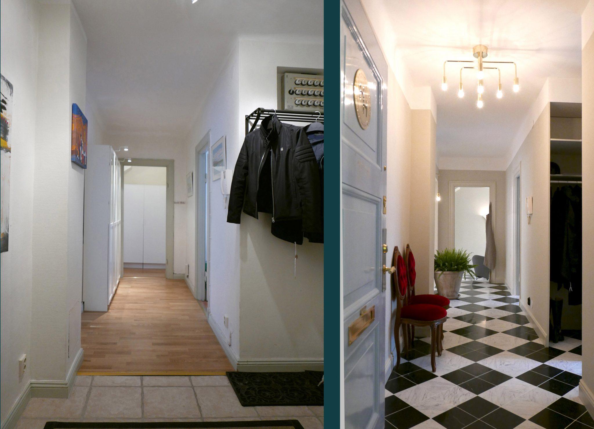 Före och efterbild på korridoren i Studio Hagman, ritat av Rex Arkitektbyrå