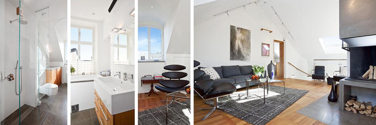 Badrum och vardagsrum i ny vindsvåning av Rex Arkitektbyrå