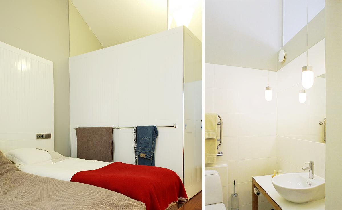 Rum i Hotell Packhuset, Kalmar. Inredning ritad av Rex Arkitektbyrå