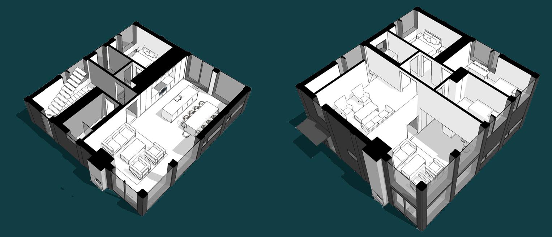 Entréplan och övervåning i Villa Hem som är ett samarbete mellan Rex Arkitektbyrå och ett byggföretag