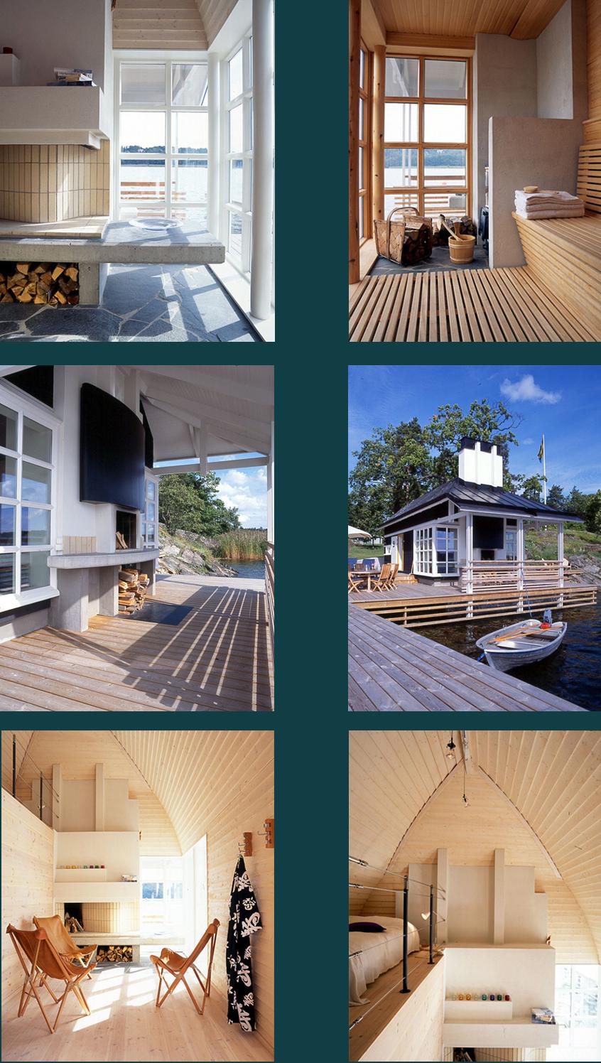 Nybyggnad av en sjöbod där huset är utformat som ett upp- och nedvänt båtskrov, ritad av Rex arkitektbyrå