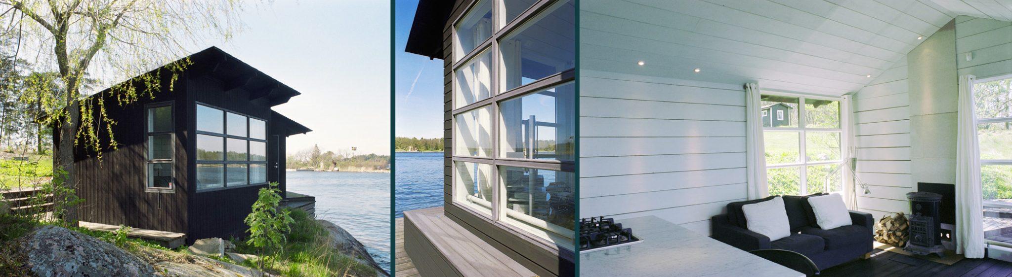 In- och utsida av sjöbod Beckbo, ritat av Rex arkitektbyrå