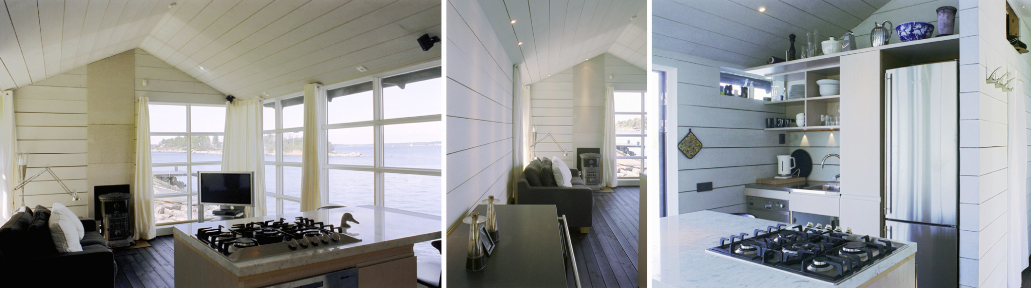 Vardagsrum och pentry i Sjöbod Beckbo,ritat av Rex arkitektbyrå