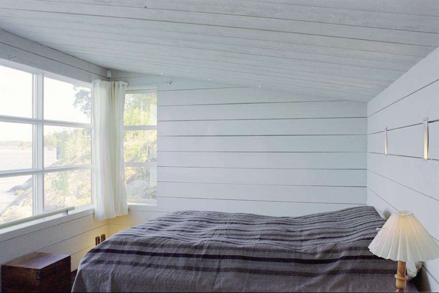 Sovrum i Sjöbod Beckbo,ritat av Rex arkitektbyrå