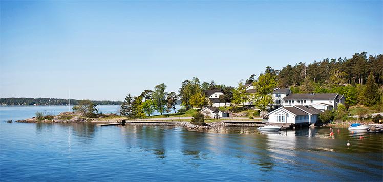 Nya bostadsområdet Stensnäs vid havet nära Stockholm, av Rex Arkitektbyrå