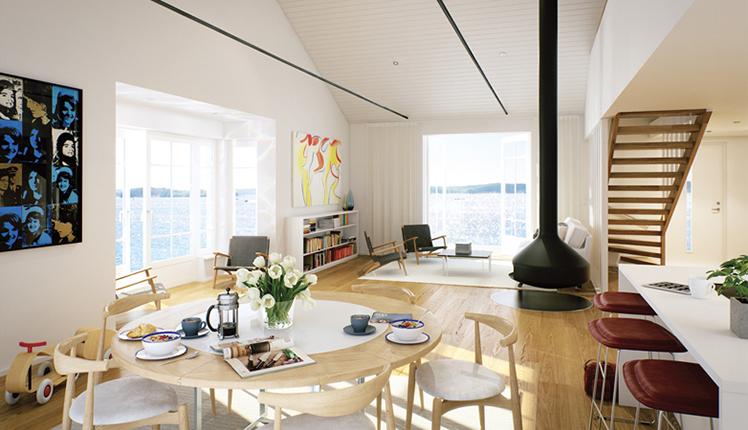 Vardagsrum i ny bostad vid havet nära Stockholm, av Rex Arkitektbyrå